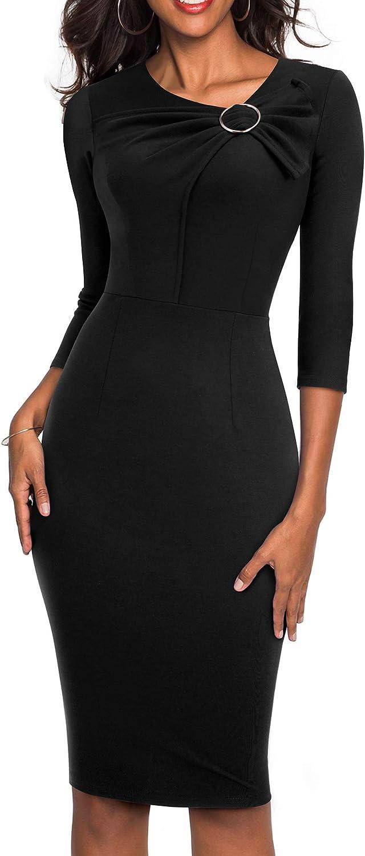 HOMEYEE Women's 3 4 Sleeve VNeck Kink Sheath Form Fitting Church Dress B481