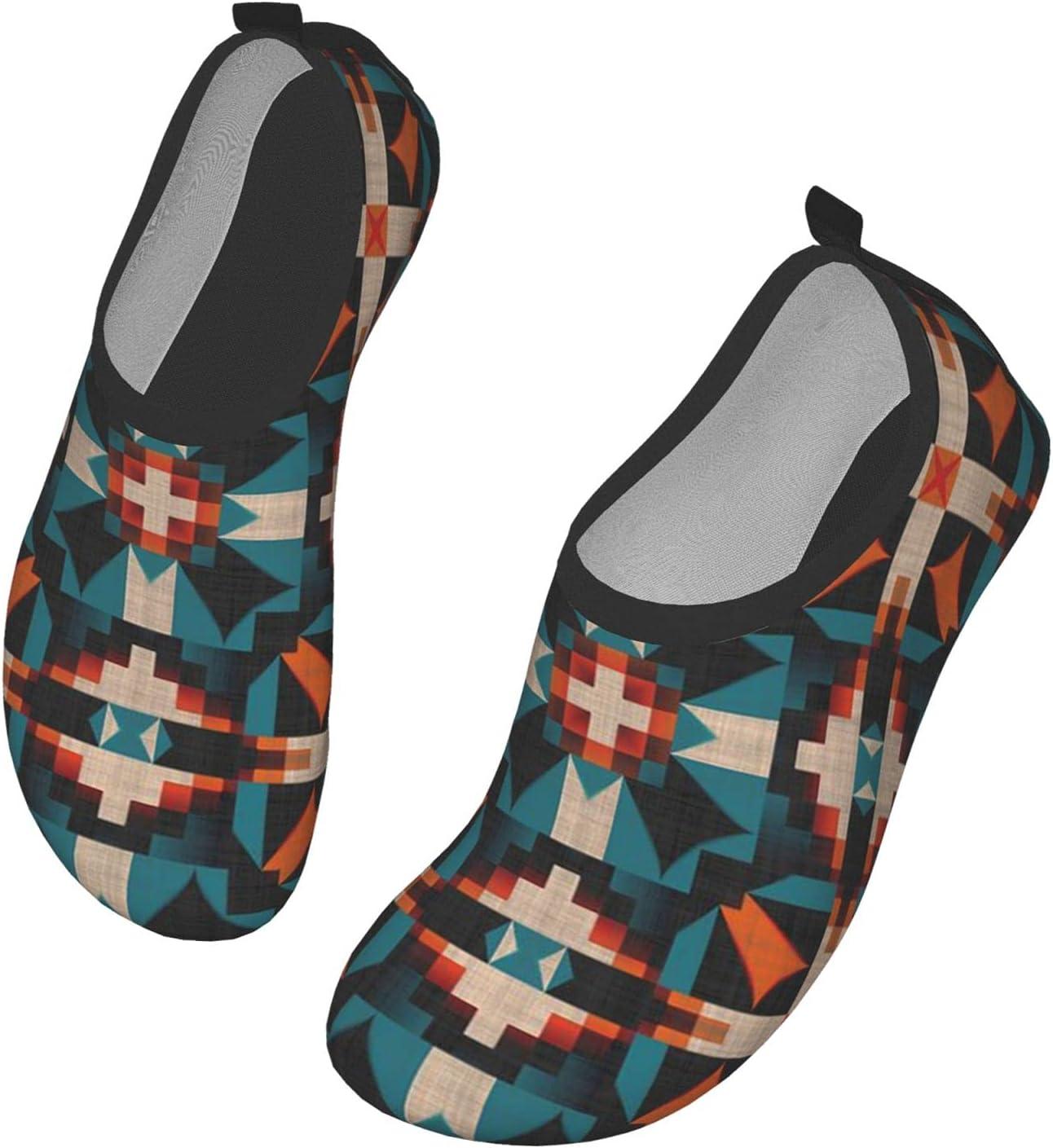 Womens Mens Summer Water Shoes Teal Orange Ethnic Tribal Mosaic Pattern Barefoot Shoe Quick Dry Aqua Socks