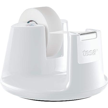 Tesa Easy Cut Dérouleur de Bureau Compact - Dévidoir Ruban Adhésif avec Design Moderne, Blanc, avec inclus 1 x Ruban Adhésif Invisible, 33 m x 19 mm