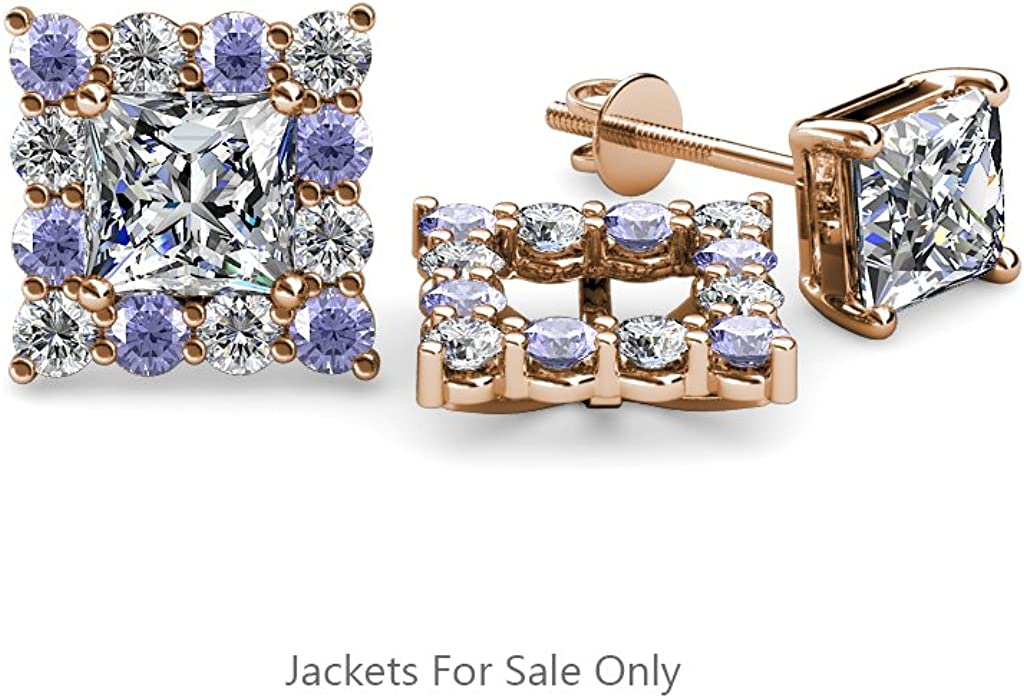 TriJewels Tanzanite and Diamond (SI2-I1,G-H) Halo Jacket for Princess Cut Stud Earrings 0.70 ctw 14K Gold