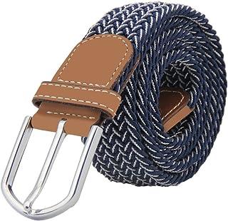 Cinturon elastico hombre, Cinturon Trenzado, Unisex Hombres Mujeres Casual Tejido, Hebilla Metal y Caja De Regalo Negra Elegante Como Regalo, Uso Diario Etc