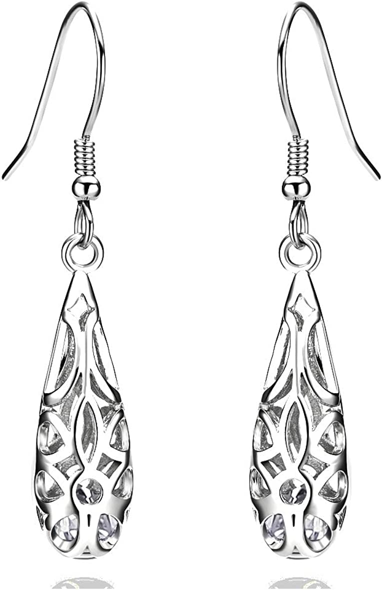 18k Gold Selling and selling Plate 925 Sterling Earri Dangle Vintage Filigree Silver Max 51% OFF