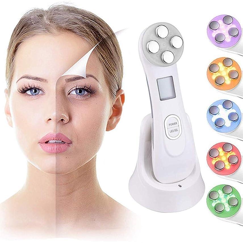 に沿って無法者傾向があるスキンケアRF美容機、LEDライトセラピーアンチエイジング肌の若返り肌の引き締め機、無線周波数フェイスリフトマシーンはしわによって傷つけられた肌の外観を改善します