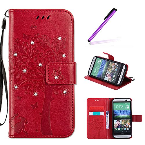 EMAXELERS HTC One M8 Hülle Wishing Tree Muster PU Leder Flip Cover Wallet Case im Handyhülle Ledertasche Case Tasche mit Standfunktion & Karte Halter für HTC One M8,Red Wishing Tree with Diamond