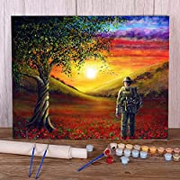 番号でペイントDIYアクリル絵画自然の風景の思い出の日-40x50cm フレームなし アクリル絵画キット大人と子供のための番号でペイント画像