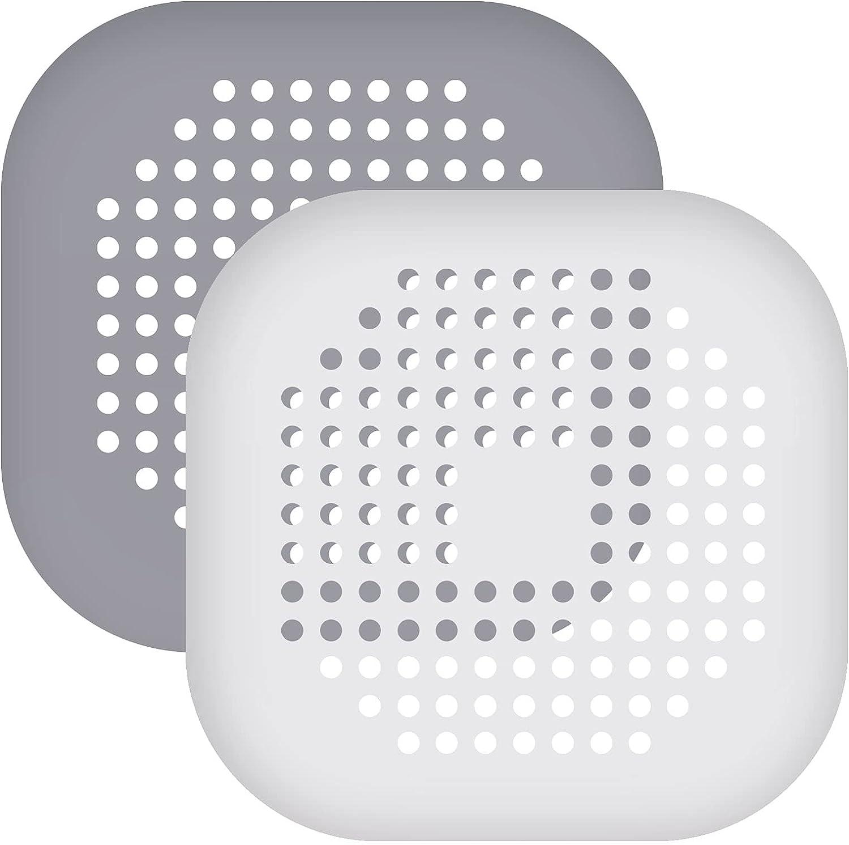 Chstarina 2 Piezas Silicona Protector de Drenaje con lechón Filtro de Fregadero Filtro de Drenaje de Ducha, para el baño o la Cocina, Gris y Blanco