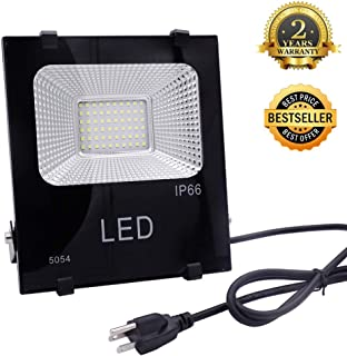 10W LED Flood Light,Super Bright New Craft Security Work Lights,900 Lumen 6000K Cool White IP66 Waterproof, Outdoor Daylight for Garage Garden Lawn Playground and Yard,4ft Cord US-3 Plug Yoke Mount