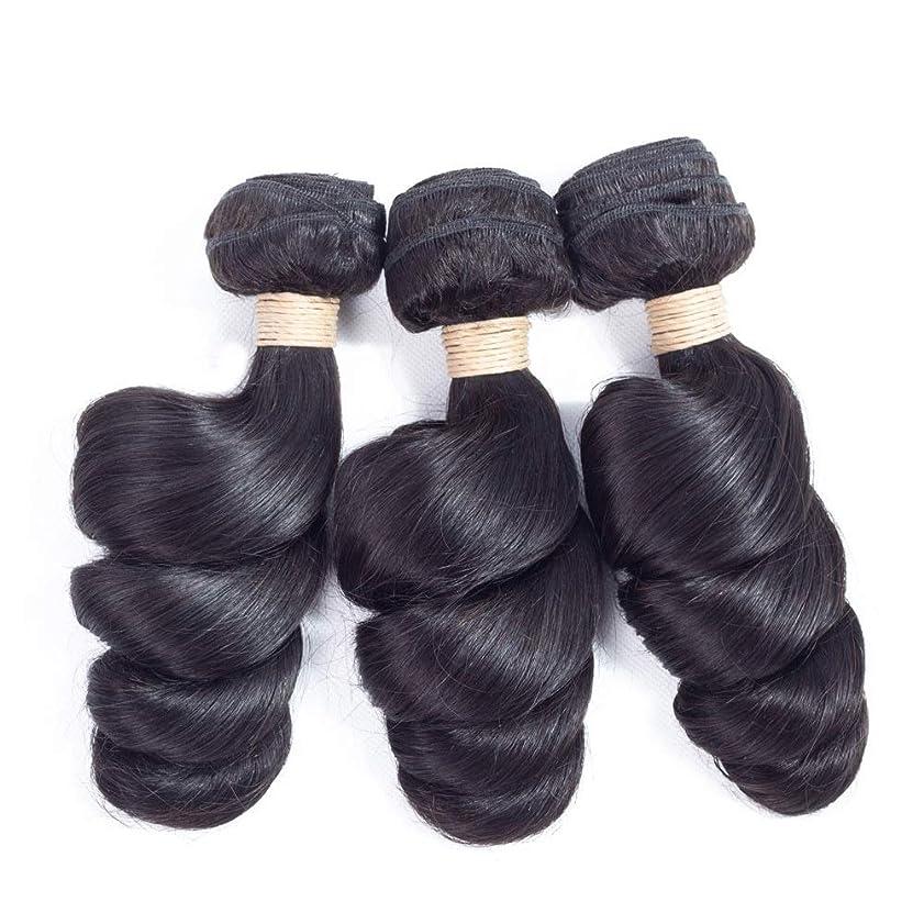 直径範囲山岳Mayalina ブラジルのバージンルースウェーブヘアバンドル100%未処理の人間の髪の毛#1Bナチュラルブラックカラー(1バンドル、100g)女性用合成かつらレースかつらロールプレイングウィッグ (色 : 黒, サイズ : 22 inch)
