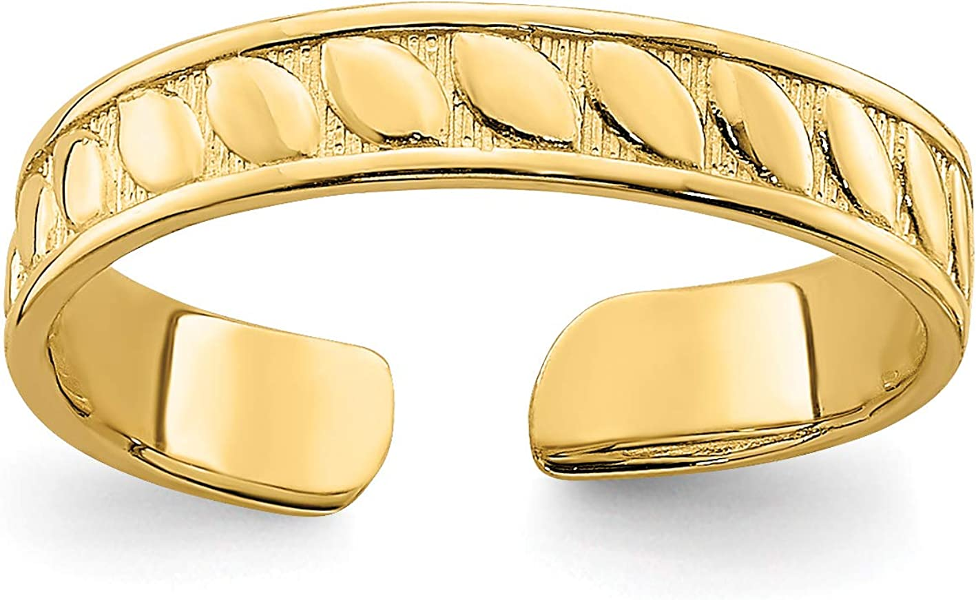 14k Yellow Gold Polished Leaf Pattern on Textured Toe Ring