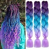 Xiaofeng 3 Packs 24'' Synthetic Braiding Hair for Women Ombre Jumbo Braids Hair Extensions for Crochet Braids Purple-Lake Blue-Light Purple