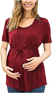 CrazyFashion Women Maternity Short Sleeve Solid Color Nursing Tops T-Shirt for Breastfeeding