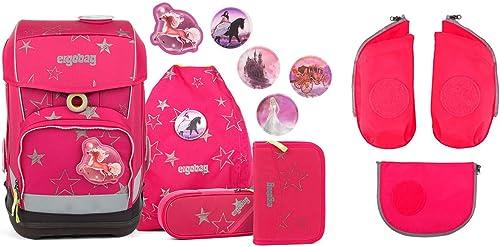 Ergobag Cubo CinB lla Schulrucksack Set 6tlg. - inkl. Seitentaschen (Rosa)