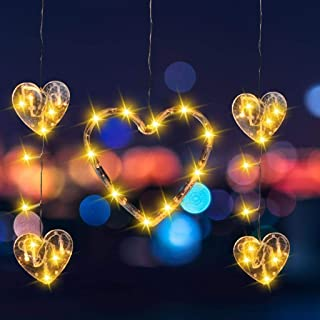 Xgood 3 Packs Heart Lights Indoor LED Valentine's Day Hanging String Lights Window Door Decorations Love Heart Designs Dec...