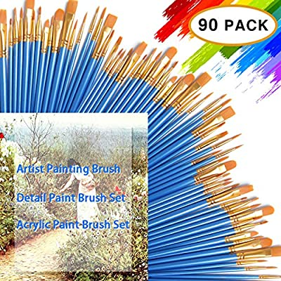 DECYOOL Acrylic Paint Brush Set,9 Packs / 90 pcs Nylon Hair Brushes for All Purpose Oil Watercolor Painting?Miniature Detail Painting Artist Professional Painting Kits