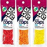 Perler Caps - Solid-Top Fuse Beads - 3 Pack Bundle - Red, Orange and Yellow