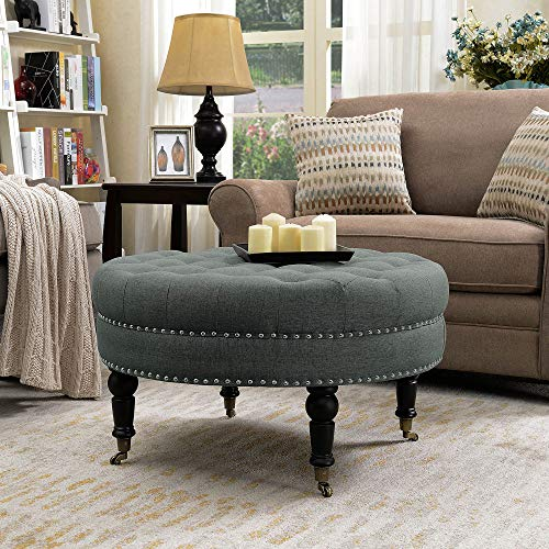 BELLEZE 33 Inch Round Button Tufted Linen Ottoman Large Upholstered Footstool Cocktail with Caster, Elephant Grey