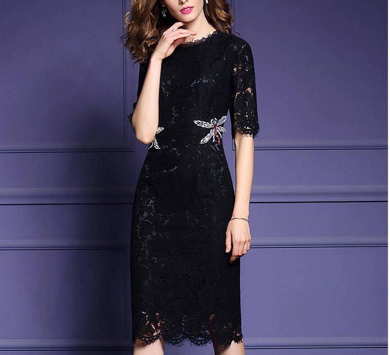 LDQ Early Herbst Mode Mode Mode Frauen in Den Langen Abschnitt des Kragens in Den Ärmeln Spitze Kleid Weiblichen Schritt Rock,Schwarz,M B0784JY4M6  Zu verkaufen d8a807