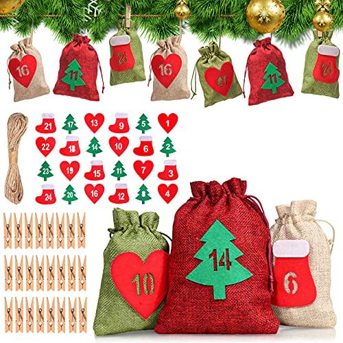 24 Calendario dell' Avvento da riempire, DAWINSIE Natale sacchetti di stoffa per uomini e donne bambini, fai da te con 24 mollette in legno e 1-24 adesivi in feltro