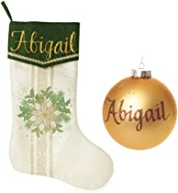 The Christmas Cart Personalised Green and Gold Wreath Stocking and Bauble Pack, Matching stocking and bauble set, perfect ...