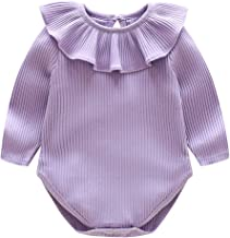 BomDeals Newborn Baby Girl Ruffle Romper, Infant Toddler Summer Solid Color Onesies