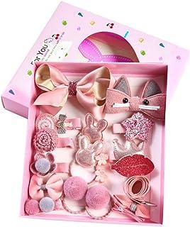 Intemi Haarspelden set leuke haarspelden haarband met geschenkdoos voor kleine meisjes baby – roze, 18 stuks