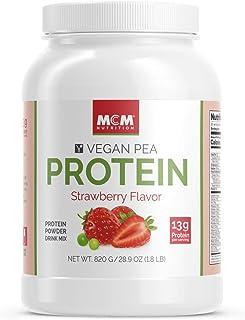 MCM Nutrition – Vegan Protein Powder (Strawberry Flavor) - Non-Dairy & Non-Gluten Plant Based Protein Powder – Delicious, Vegan Protein Shake with Pea Protein (1.8 LB) – (20 Servings)