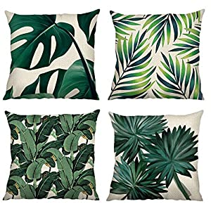 Bonhause Juego de 4 Funda de Cojín 45x45cm Hojas Tropical Verde Algodón Lino Fundas de Almohada para Cojines Decorativos… | DeHippies.com