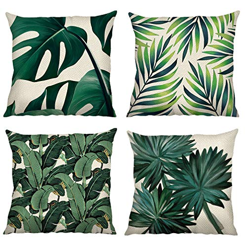 Bonhause Tropical Leaves Cushion Covers 18 x 18 Inch Set of 4 Green Leaves Decorative Throw Pillow Covers Cotton Linen Square Pillowcases for Sofa Couch Car Bedroom Home Décor, 45cm x 45cm
