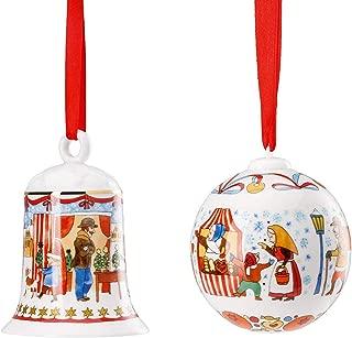 Hutschenreuther Set of 2 2019 Christmas Ornaments, Porcelain Christmas Bell 2019 and Porcelain Christmas Ball 2019, Porzellan Weihnachtsglocke 2019 and Porzellan Weihnachtskugel 2019