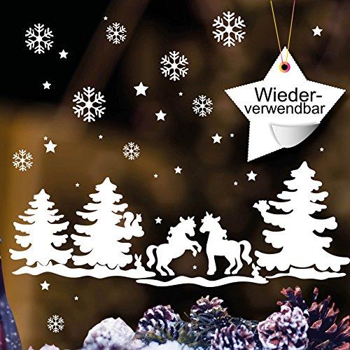 Wandtattoo-Loft Fensteraufkleber Schneeflocken Einhörner im Märchen Winterwald - WIEDERVERWENDBAR – Aufkleber im Set Weiß/konturgeschnitten/Fensterbild Wintermotiv/Adventsdekoration/Einhorn