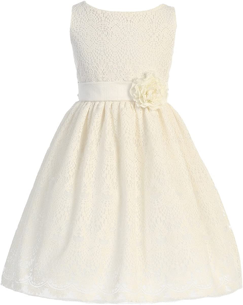 Sweet Kids Girls Off White Vintage Lace Overlay Easter Dress