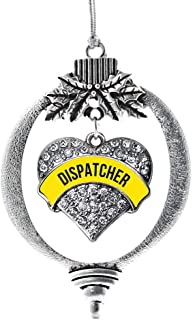 Inspired Silver - Dispatcher Charm Ornament - Silver Pave Heart Charm Holiday Ornaments with Cubic Zirconia Jewelry