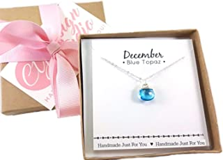 December Birthstone Blue Topaz Quartz Necklace - Sterling Silver Briolette Teardrop Jewelry - Gift for Her