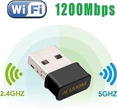WiFi USB Antena Adaptador - Maxesla 1200Mbps Mini WiFi Receptor Banda Dual 2.4G/5GHz, para PC Desktop Laptop Tablet, Soporta Windows 7/8/8.1/10 / Mac OS 10.7-10.12 / Mac OSX