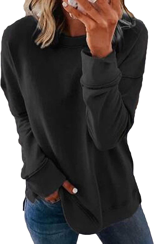 Hotkey Sweatshirts for Women, Womens O-Neck Sweatshirt Side Split Long Sleeve Tops Casual Loose Pullover Sweater Top Blouse