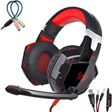 Goldfier Stereo Bass LED Light Headband Gaming Headset with Microphone Surrounded Sound Over-Ear Volume Control Game Headphones Earphone for PS4 PC Mac Computers iPad Smartphones Xbox One (Black/Red)