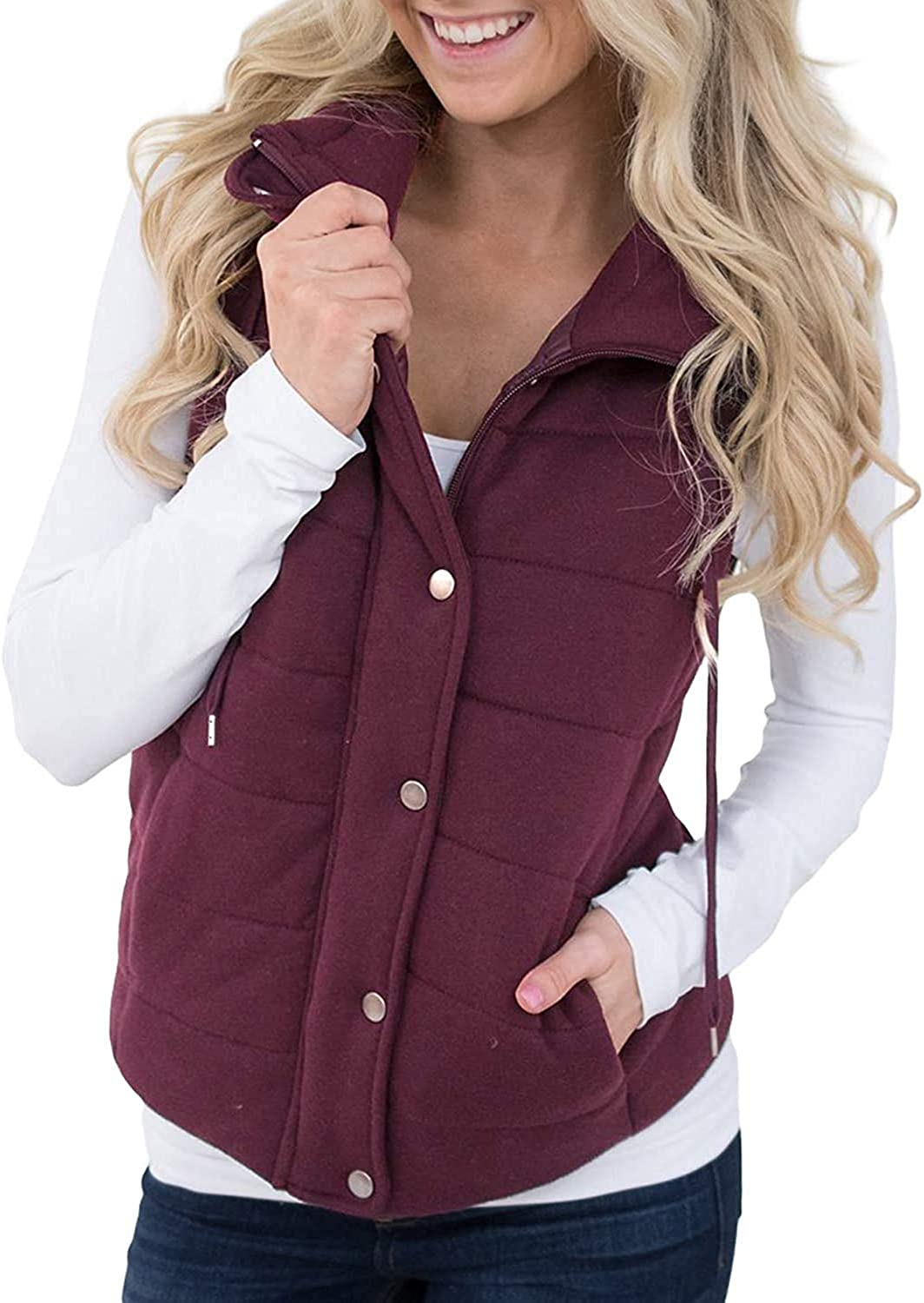Women's Lightweight Quilted Zip,Snaps Up Puffer Vest Drawstring Jacket Gilet with Pockets Padded Outerwear