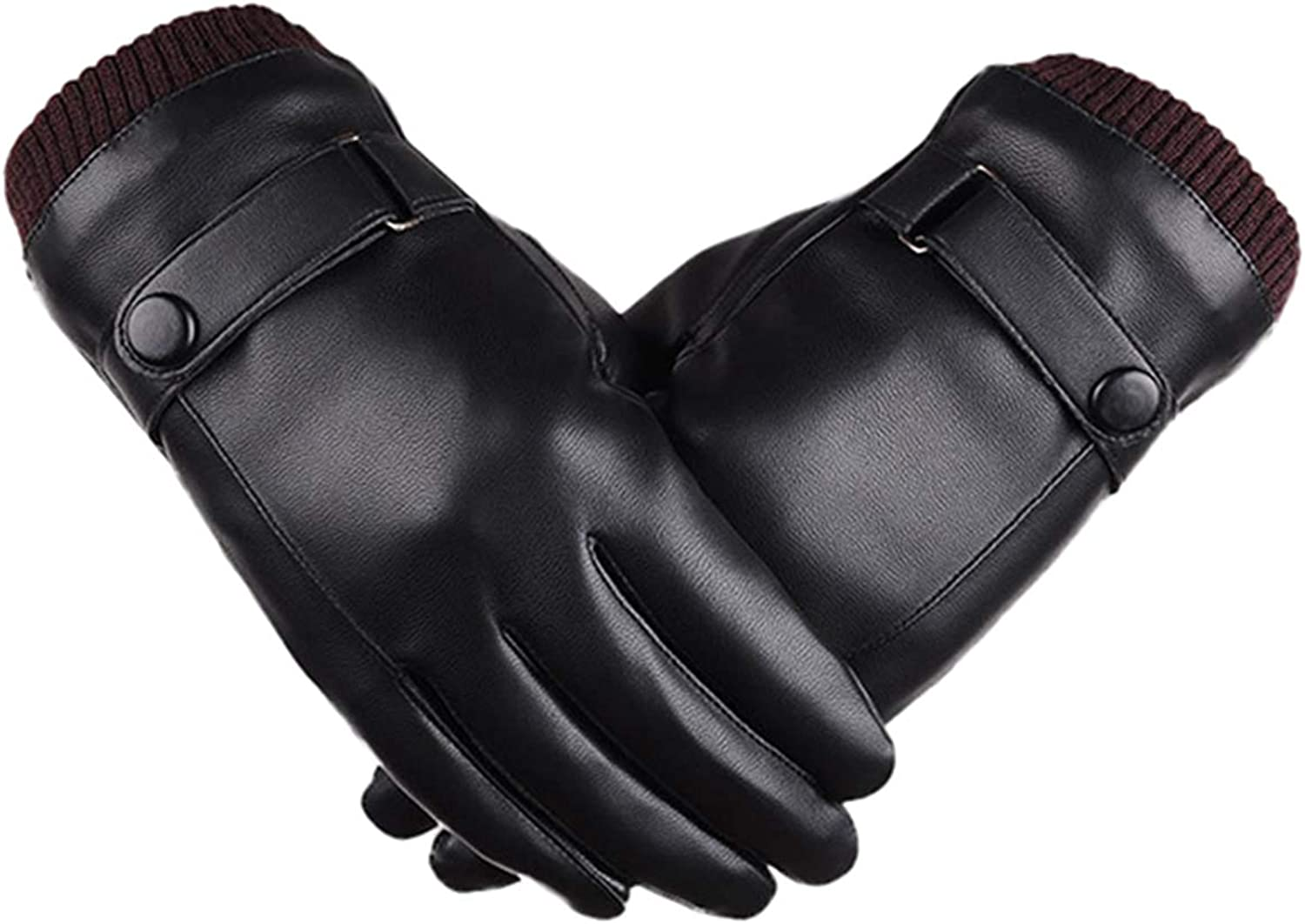 YOINS Men's Luxury PU Leather Warm Winter Touchscreen Texting Black Gloves with Wool/Cashmere/Fleece Blend Lining Cuff