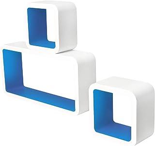 Lestarain LGA013 Juego de 3Estanteria Cubo de Pared Cuadrada Libreria Repisas Invisibles Estanteria Pared Flotantes Blanco/Azul Oscuro Decorativo CD