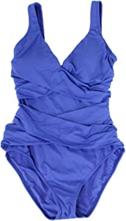 Womens Pearl Wrap-Front One-Piece Swimsuit Dark Sanibel Blue Size 6