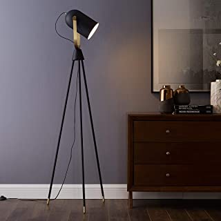Arpenter Industrial Floor lamp for Living Room Bedrooms, Rustic Tripod Spotlight Standing Lamp, 61 Inches High with Adjustable Head Shade,8W LED Bulb Included(Black, Floor lamp)