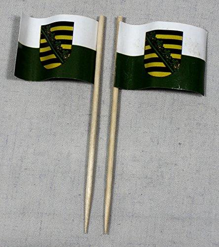 Buddel-Bini Party-Picker Flagge Sachsen Papierfähnchen in Profiqualität 50 Stück 8 cm Offsetdruck Riesenauswahl aus eigener Herstellung