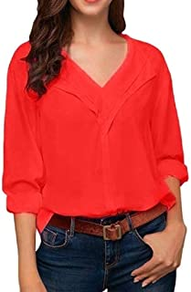Loyomobak Womens V-Neck Plus Size Solid Color Loose Sexy 3/4 Sleeve Chiffon Blouse Shirt Top