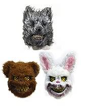 Mr.G 3 PACS Halloween Horror Mask Prank Evil Bloody Rabbit/Bear/Wolf Mask Plush Animal Bunny Scary Mask Horror Killer (3)