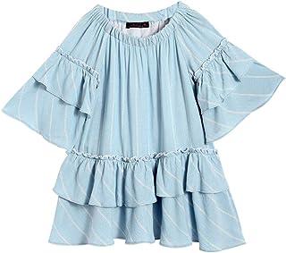 Hopscotch Peaches Girls Cotton Stripes Casual Dresses in Blue Color