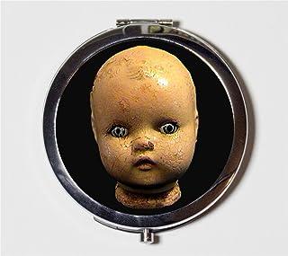 Doll Head Compact Mirror Victorian Creepy Goth Make Up Pocket Mirror for Cosmetics