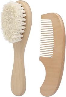 2Pcs Baby Hair Brush Comb Set Newborn Hairbrush Kit Infant Comb Soft Wool Hair Wooden Handle Scalp Massage
