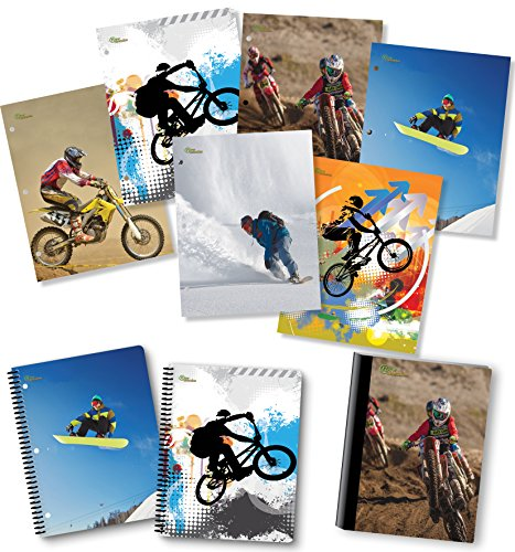 NEW GENERATION – Sport Extreme 2 Pocket Folders, Heavy Duty Fashion Durable 6 Assorted Sports Designs School Folders,Set Included with1 Composition Notebook, 2 Spiral Notebooks - 9 Pack