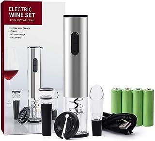 Elektrische wijnopener-set, automatische kurkentrekker van roestvrij staal met foliesnijder, schenktuit, vacuümsluiting, o...