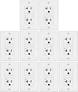 10 Pack – 20A GFCI Outlets by ELECTECK, Weather Resistant (WR) GFI with LED Indicator, Tamper Resistant (TR) Ground Fault Circuit Interrupter, Decor Wall Plates Included, ETL Certified, White
